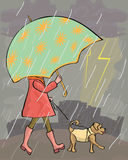 Girl walking at rain with dog Stock Photos