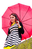 Girl walking after the rain Royalty Free Stock Photography