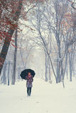 A girl walking on the snow Royalty Free Stock Images