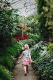 Girl walking on stone path in botanical garden greenhouse with green trees, plants and colorful flowers Stock Image