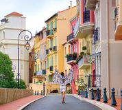 Girl walking in streets of Monaco Royalty Free Stock Image