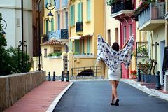 Girl walking in streets of Monaco Stock Image