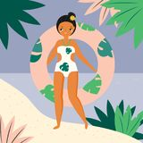 Girl walking on the tropic beach. female with inflatable ring. Girl walking on the tropic beach. Cartoon female with inflatable ring Royalty Free Stock Photography