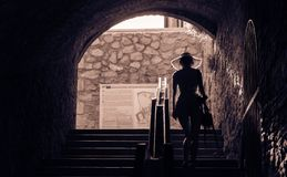 Girl walking up stairs gracefully. Girl walking up stairs in Bratislava. Elegant & Graceful Stock Photography