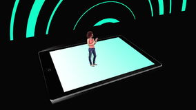Girl walking on and using tablet pc with holographic application icons on black background stock footage