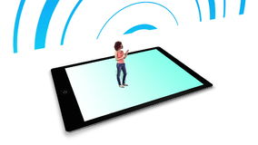 Girl walking on and using tablet pc with holographic application icons stock footage