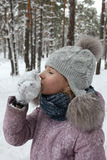 Girl walking in winter forest and having fun with snow 30083 Royalty Free Stock Photography