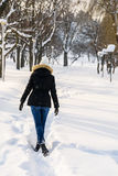 Girl Walking In Winter Snow Park Royalty Free Stock Image