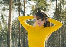 Girl walking in woods Royalty Free Stock Photos