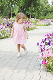 Girl walks on a flowers alley Stock Photography