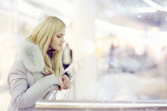 Girl walks through the Mall. Girl walks to the shops Stock Photography