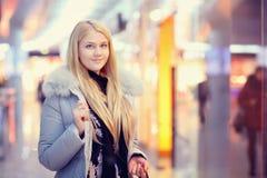 Girl walks through the Mall Stock Photos