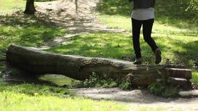 Girl Walks Over Log. Girl is crossing the water stream, in forest, walking on a footbridge of tree trunk stock video