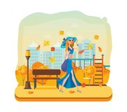 Girl walks, resting on autumn kids playground. Autumn city park. royalty free illustration