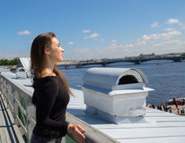The girl walks on the roof of the Peter and Paul fortress Stock Image