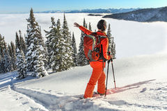 The girl walks on skis in mountains Royalty Free Stock Image
