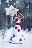 Girl walks in the snow Royalty Free Stock Photo