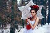 Girl walks in the snow Royalty Free Stock Images