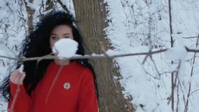 Girl walks through the snowy forest. Beautiful curly girl in a red sweater walks through the snowy forest. A young woman happily walks against the backdrop of a stock footage
