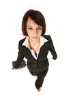 Girl walks towards you. Girl in pants suit walking forward at a brisk pace Stock Photo