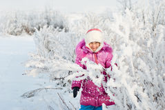 A girl walks in winter royalty free stock photo
