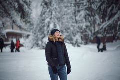 Girl walks on the winter forest Royalty Free Stock Images