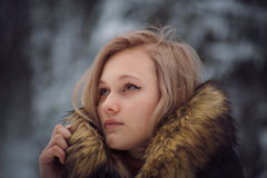 Girl walks on the winter forest Stock Photos