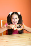 Girl want to eat pizza Stock Photo