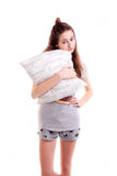 Girl want to go to sleep with pillow Stock Photos