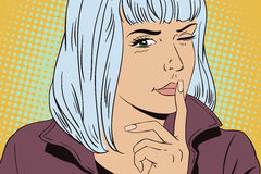 Girl wants silence. People in retro style. Royalty Free Stock Image