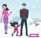 Girl wants to ride on a sled Stock Images