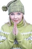 Girl in warm clothes Stock Images