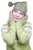 Girl in warm clothes Royalty Free Stock Photography