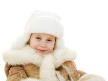 The girl in warm clothes kindly waving a hand Royalty Free Stock Photography