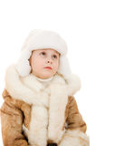 The girl in warm clothes looking up Royalty Free Stock Images