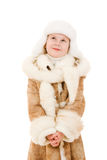 The girl in warm clothes looking up Royalty Free Stock Photo