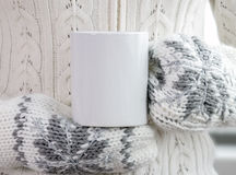 Girl in a warm clothes and mittens is holding white mug in hands. Mockup for winter gifts design, Merry Christmas and Happy New Year Royalty Free Stock Photography