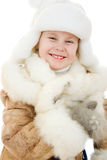 The girl in warm clothes smiling Royalty Free Stock Images