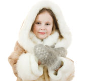 The girl in warm clothes smiling Stock Photo