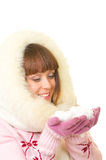 Girl in warm clothes with snow Royalty Free Stock Photography