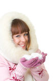 Girl in warm clothes with snow Stock Images