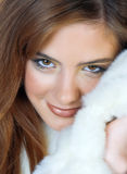 Girl with warm fur Royalty Free Stock Photo