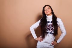 Girl in warm sweater Stock Image