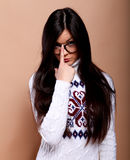 Girl in warm sweater Royalty Free Stock Photos