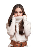 The girl in the warm sweater Royalty Free Stock Photo