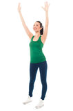 Girl warming up before her exercise session Stock Photography