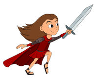 Girl warrior cartoon Royalty Free Stock Images