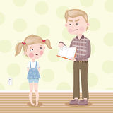 The girl was blamed for poor homework. Vector. Father scolds her daughter for school homework. Vector illustration Royalty Free Stock Image