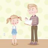The girl was blamed for poor homework. Vector. Father scolds her daughter for school homework. Vector illustration royalty free illustration