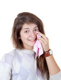 Girl was crying from happiness. Holding a handkerchief in his hand Stock Images